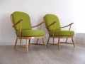 1970s Ercol green armchairs