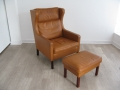 Danish tan leather Stouby armchair