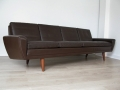 1960s 4 seater Danish brown leather Thams sofa