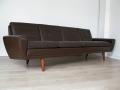 1960s 4 seater Danish brown leather Thams sofa