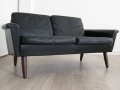 1960s black leather Danish 2 seater sofa