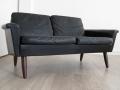 1960s black leather Danish 2 seater sofa