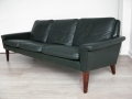 1960s green leather Danish sofa