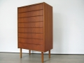 Danish teak tallboy chest of drawers
