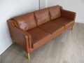 Danish tan leather Stouby sofa