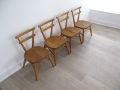 Ercol yellow dot stacking chairs