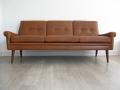 Danish tan leather Skippers sofa