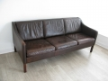 Danish leather 3 seater Mogensen style sofa