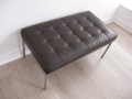 Knoll style brown leather bench