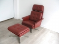 Red leather Danish swivel chair