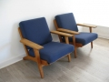 1950s oak plank GE290 chairs Hans Wegner
