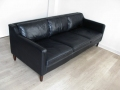 Black leather Danish sofa