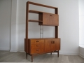 A teak freestanding wall unit. IB Kofod Larsen for G Plan