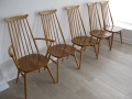 A solid elm set of dining chairs. Lucian Ercolani for Ercol