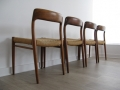 A set of 4 teak dining chairs by JL Moller