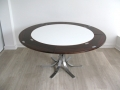 1960s A rosewood/chromed steel 'Flip-Flap' table. Dyrlund (Denmark)