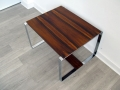 Rosewood/chromed steel coffee/side table. Norwegian