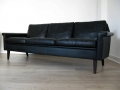 A Danish black leather 3 seater sofa