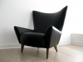 A black leather Conran 'Matador' chair
