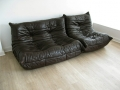 2 piece Ligne Roset 'Togo' brown leather suite
