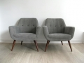 Pair of 1950s lounge/armchairs with solid teak legs