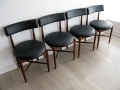 Set of 4 teak & faux leather dining chairs. G Plan