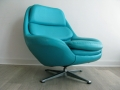 Large faux leather swivel chair on aluminium base