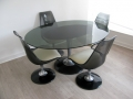 1970s glass, smoked lucite/aluminium dining suite. Chromcraft (USA)