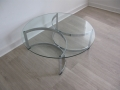Glass/chromed steel coffee table by William Plunkett