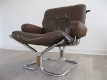 Danish leather, chrome and rosewood 'falcon' style chair
