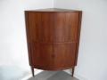 1960s teak Danish corner cabinet, tambour doors