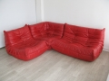 Red leather Ligne Roset Togo