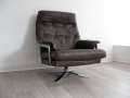 1970s leather & chrome swivel chair Arne Norell