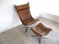 Chrome & tan leather falcon chair