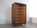 A 1960s teak tallboy chest of drawers