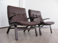 Pair of bentwood Danish leather chairs by Farstrup