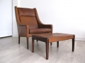 1960s Danish tan leather chair and footstool