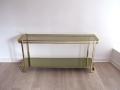 Italian brass chrome glass console table