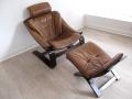 Leather Nelo Kroken chair & footstool