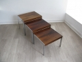 Rosewood & chrome Merrow Associates nest of coffee tables