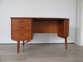 1960s teak curved asymmetric desk