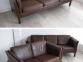 3 seater Danish leather sofa Borge Mogensen