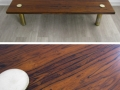 A 1960s rosewood/brass coffee table by Pieff
