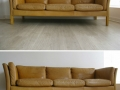 A Danish tan leather sofa by Stouby